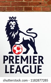 Odense, Denmark - August 16, 2018: Premier league logo on a wall.  Premier league is the top level of the English football league system
