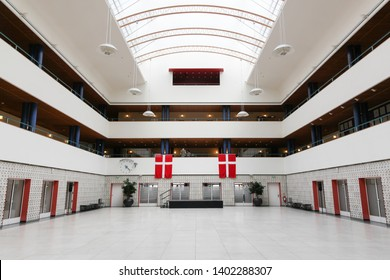 Odense, Denmark - August 16, 2018: Interior of the city hall of Odense in Denmark