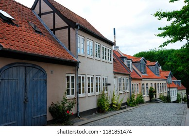 Odense, Denmark - August 4, 2018 - Medieval Old Town of Odense