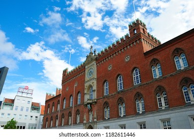Odense, Denmark - August 4, 2018 - Odense's City Hall (Odense Rådhus)