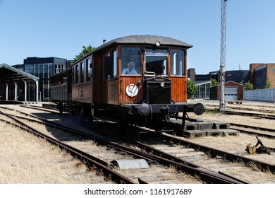 ODENSE, DENMARK - JULY 9, 2013: Old train in action at the railway museum in Odense, Denmark