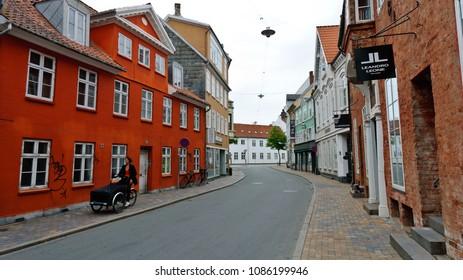 Odense, Denmark - June 26, 2012: Overgade Street