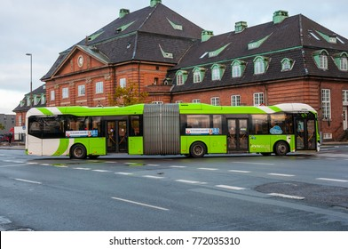 Odense Denmark - November 2. 2017: articulated bus in front of Odense train station