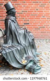 Odense, Denmark - October 6, 2018: Statue of the Danish autor Hans Christian Andersen in Odense, Denmark