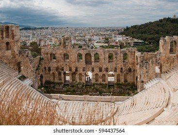 The Odeon of Athens or Odeon of Pericles in Athens, built at the south-eastern foot of the Acropolis in Athens, Greece