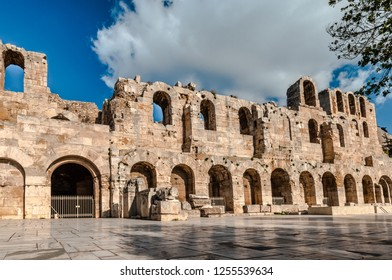 The façade of the Odeon of Herodes Atticus, in Athens, Greece. It is an ancient stone theatre, built in 161 AD, located on the southwest slope of the Acropolis of Athens.