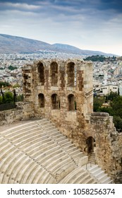 Odeon of Herodes Atticus and Cityscape, Athens, Greece