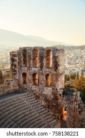 Odeon of Herodes Atticus Theatre at Acropolis historical ruins in Athens, Greece.