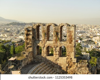 Odeon of Pericles and Athens panorama.