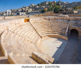 The Odeon theater in Hashemite Plaza, Amman, Jordan. It is a small, 500-seat theater close to the large Roman Theater.