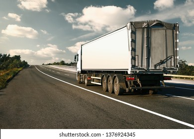 Odesa region, Ukraine, August 25, 2017 - Truck is going up the highway E95