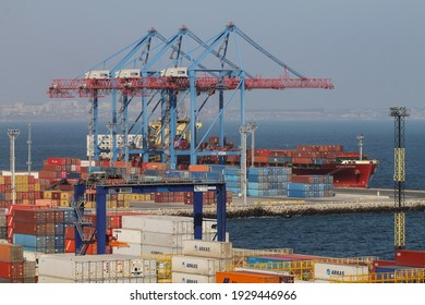Odesa, Ukraine - March 4 2021: Loading cargo at the seaport.