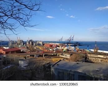 ODESA, UKRAINE - MARCH 5, 2019: View on Odesa sea port wirh cargo container
