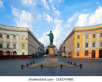 Odesa/Ukraine- July 23, 2018: Monument to Duke de Richelieu is a bronze monument in full growth, dedicated to Armand Emmanuel du Plessis, Duke of Richelieu,  the first monument established in Odessa