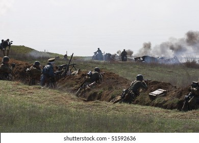 ODESSA - APRIL 11: reconstruction of battle for the liberation of Odessa. Soldiers dressed in the form of World War II, competed in the attack on April 11, 2010 in Odessa, Ukraine.