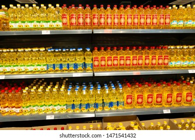ODESSA AUGUST 6: Sunflower oil in bottles in a supermarket or grocery store in Odessa, Ukraine on August 6, 2019
