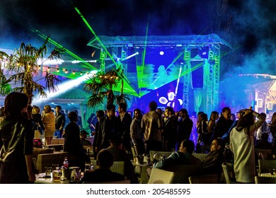 ODESSA - JUNE 22: Nightclub presents a new modern light show new entertainment for visitors vacationing summer holiday season, June 22, 2014, Odessa, Ukraine