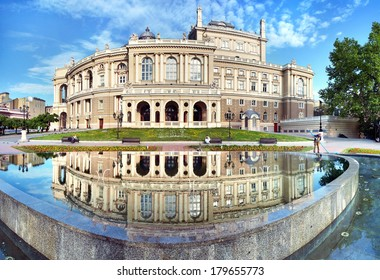 The Odessa National Academic Theater of Opera and Ballet in Ukraine. Facade with fountain on the front. 06 June 2013