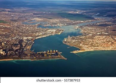 Odessa port aeral view, Ukraine, Yuzhny seaport