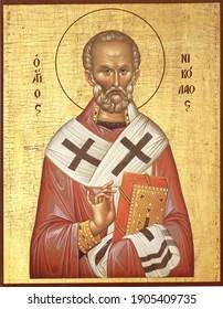 ODESSA REGION, UKRAINE – NOVEMBER, 29, 2019: Orthodox icon of St. Nicholas.