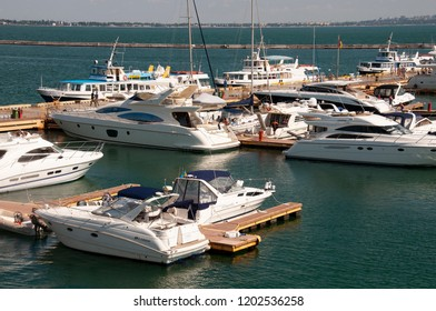Odessa, South of Ukraine, The customs area, July 10, 2018. Odessa commercial sea port. Beautiful yaсhts. Sailboats at the dock