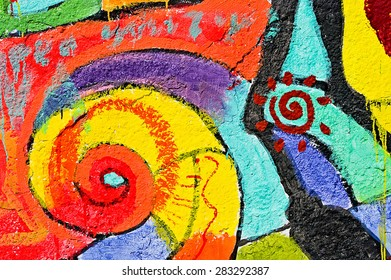 Odessa, Ukraine - 01 June 2015: Beautiful street art graffiti on the wall  of the city. Abstract creative drawing fashion colors. Urban Contemporary Culture