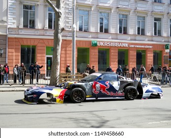 Odessa / Ukraine - 04 01 2018: car team Odessa drifter stunt rider according to Red Bull Show Rune on a festive day of laughter on Richelieu street in the city center