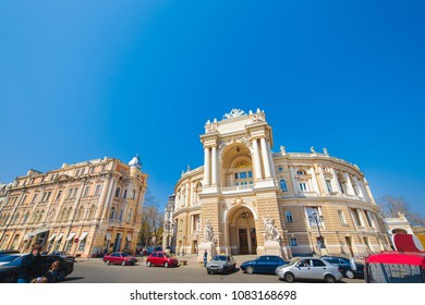 ODESSA, UKRAINE - 04.20.2018. Odessa National Academic Theater of Opera and Ballet in Ukraine in a spring morning.