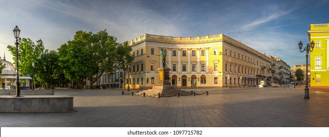 ODESSA, UKRAINE - 05.16.2018. Monument to Duc de Richelieu on Primorsky Boulevard in the city of Odessa, Ukraine. Panoramic view in a summer morning