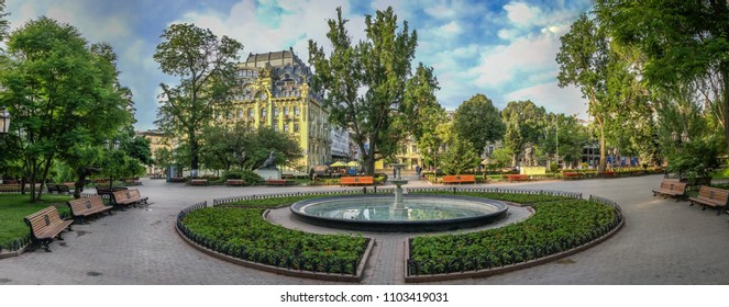 ODESSA, UKRAINE - 05.19.2018. Panoramic view in the Odessa City garden, Ukraine, on a sunny spring morning