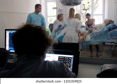 Odessa / Ukraine - 05-25-2018: Medical Training for obstetricians with bleeding after labor