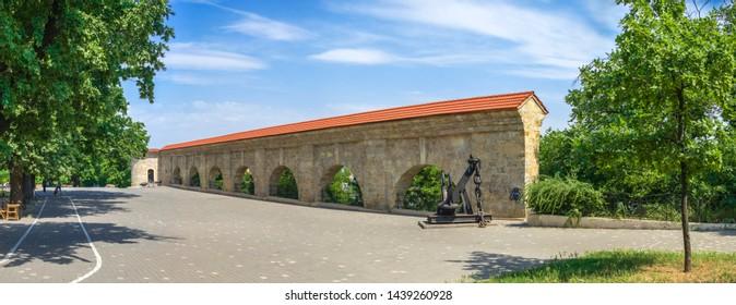 Odessa, Ukraine - 06.14.2019. Panoramic View of Quarantine arch and cargo harbor. Historical ruins, tourist attraction of the city of Odessa, Ukraine