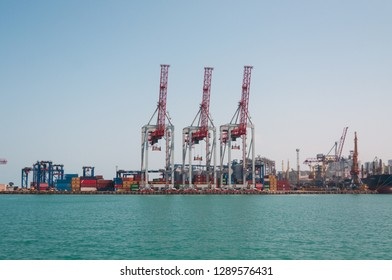 Odessa, Ukraine, 07.22.2017: dry cargo handling complexes in the port of Odessa.