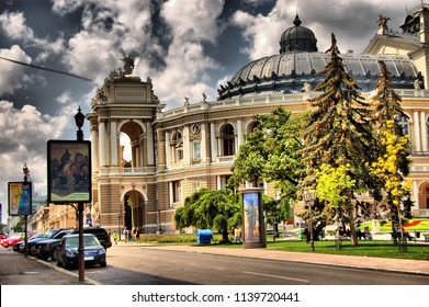 Odessa / Ukraine - 07.22.2018: dramatic hdr view of clasic stile bilding in the centre of the city