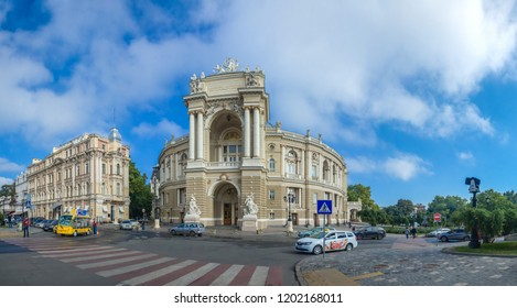 Odessa, Ukraine - 09.12.2018. Odessa National Academic Theater of Opera and Ballet in Ukraine. Panoramic view in a summer day