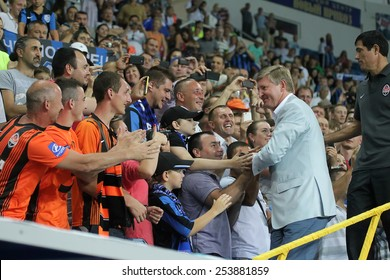 "Odessa, Ukraine - 10 July 2013:  Rinat Akhmetov at the match. football match ""Ukrainian Supercup"" between teams ""Chornomorets"" and  ""Shakhtar"""