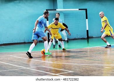 ODESSA, UKRAINE -11 September 2016: Ukrainian Cup on mini-football among veterans of sports, athletes older 60+ and 40+. Game Futsal Championship points. Game mini-soccer
