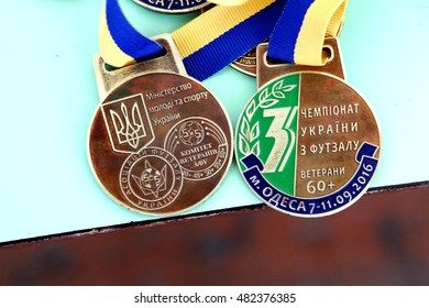 ODESSA, UKRAINE -11 September 2016: Ukrainian Cup Futsal Veterans 40+ and 60+. Sports medal winners. Veterans of sports teams. The joy of victory