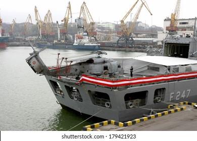 ODESSA, UKRAINE -12 April : F247 naval ship docked in the port of Odessa , Ukraine, April 12, 2008 . Friendly visit to Ukraine