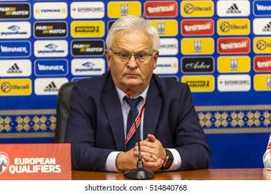 ODESSA, UKRAINE - 12 November 2016: Euro Football match Champions League, European Qualifiers between national teams of Ukraine and  FC Finland. 1:0. Press conference of head coach Hans Backe Finland