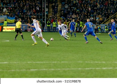 ODESSA, UKRAINE - 12 November 2016: Euro Soccer Champions League, European Qualifiers Ukraine between FC and the national team of FC Finland. 1: 0 Bright game time fighting for the ball
