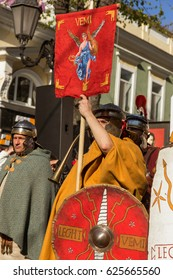 ODESSA, UKRAINE -15 April 2017: Historical reconstruction of biblical events. Crucifixion of Jesus Christ. Centurion. The Roman legionary. surrounded by legionnaires and crowd of parishioners