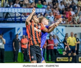 Odessa, Ukraine - 16, July - 2016: Sydorchuk (b)in the fight for the ball with Ismaili (o) during the match for the Super Cup of Ukraine between FC Shakhtar Donetsk against Dynamo Kiev