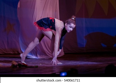 ODESSA, UKRAINE -17 December 2016: Children's musical performance cheerleaders on stage. Children's performance. Emotional children's stage show. Kids Cheerleading. Dancing on stage