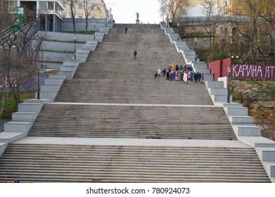 Odessa, Ukraine. 17 December 2017. Potemkin Steps giant stairway on Odessa Waterfront.