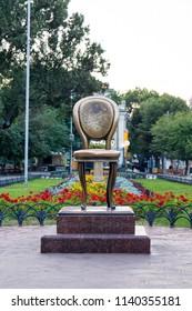 Odessa, Ukraine - 17 July 2018: Monument to a chair in Odessa