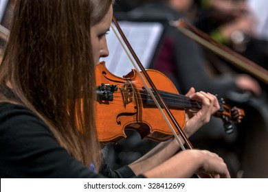 """ODESSA, UKRAINE - 17 October 2015: Dress rehearsal of concert of classical music """"Golden Violin Odessa."""" Exclusive footage of great violinists of the world level on the stage of the Odessa Opera House"""
