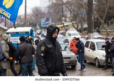 ODESSA, UKRAINE -18 April 2018: Authorities and police disrupted presidential elections in Ukraine. Street riots. Police closed access to voters at Russian Consulate on Election Day. Human rights