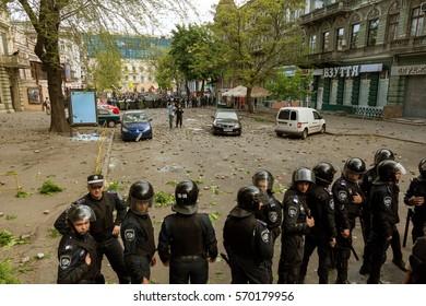 ODESSA, UKRAINE - 2 May, 2014: Great unrest in Odessa. Kulikovo Field, House of Trade Unions. Police cordon. police work on street riots.
