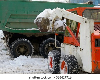 Odessa, Ukraine - 23 January, 2016:  machinery snowblower. Natural disasters winter, blizzard, heavy snow paralyzed the city, collapse. Snow covered the cyclone Europe